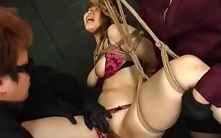 Slutty Asian Submissive Bound Coupled with Pressed Wide of Array